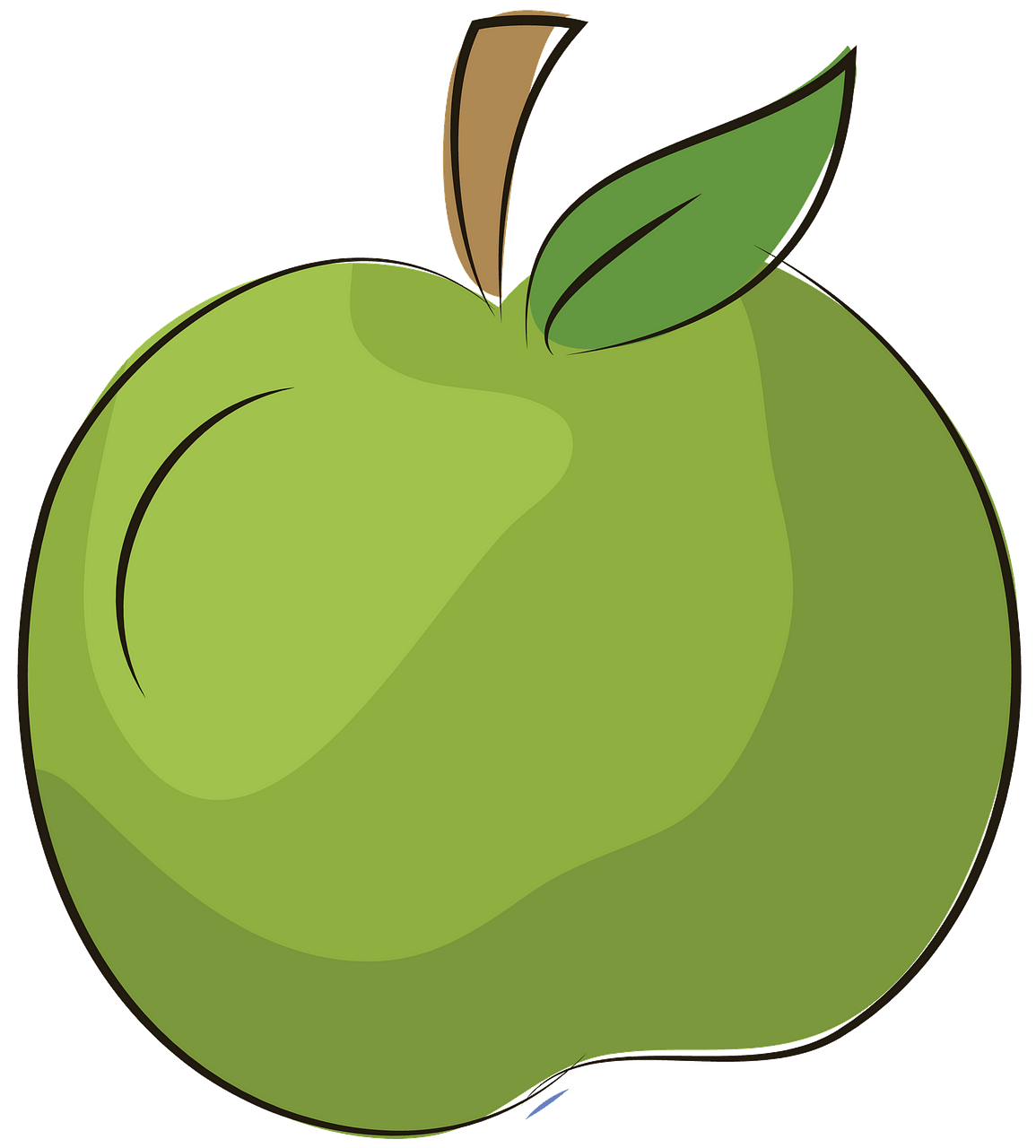 Green apple with leaf clipart. Free download..