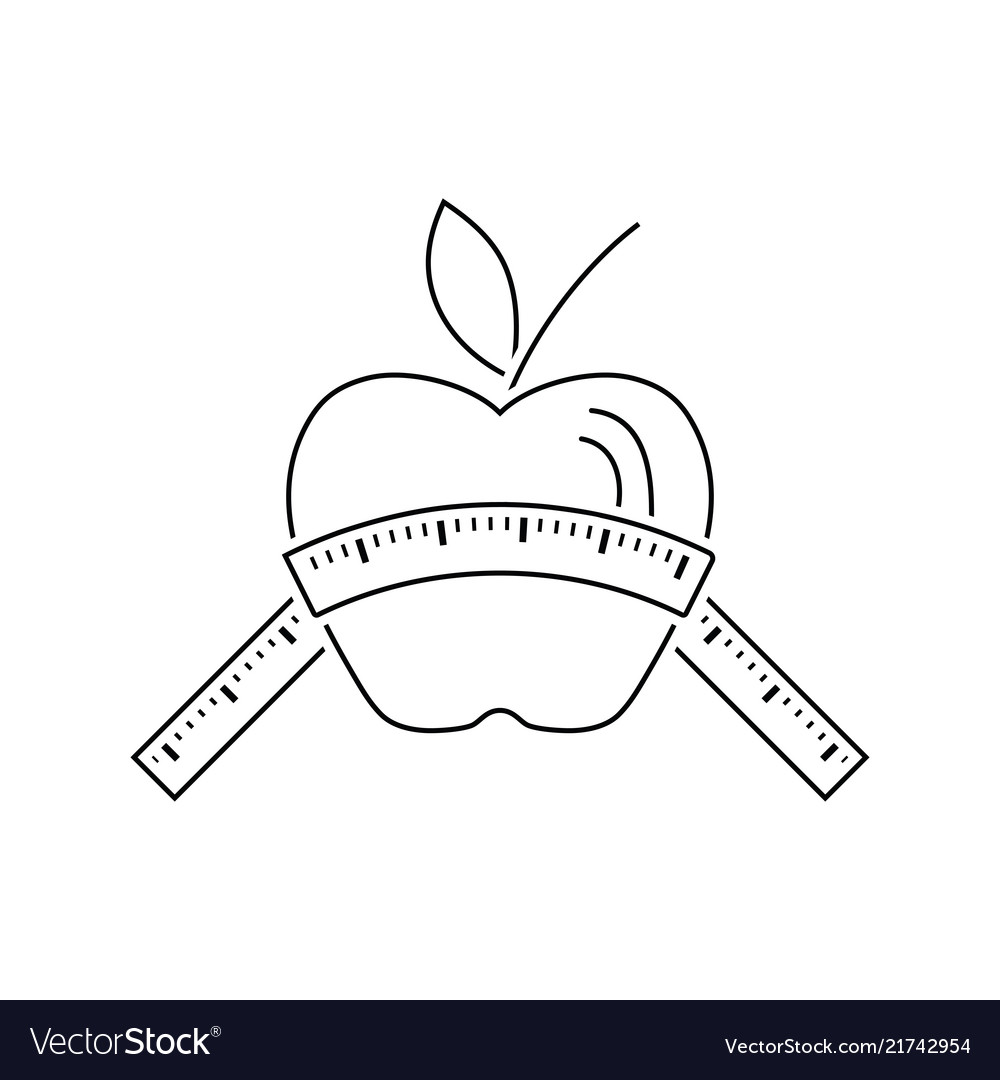 Icon of apple with measure tape.