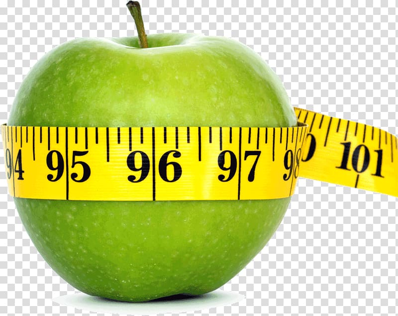 Granny Smith apple with measuring tape, Weight loss Apple.