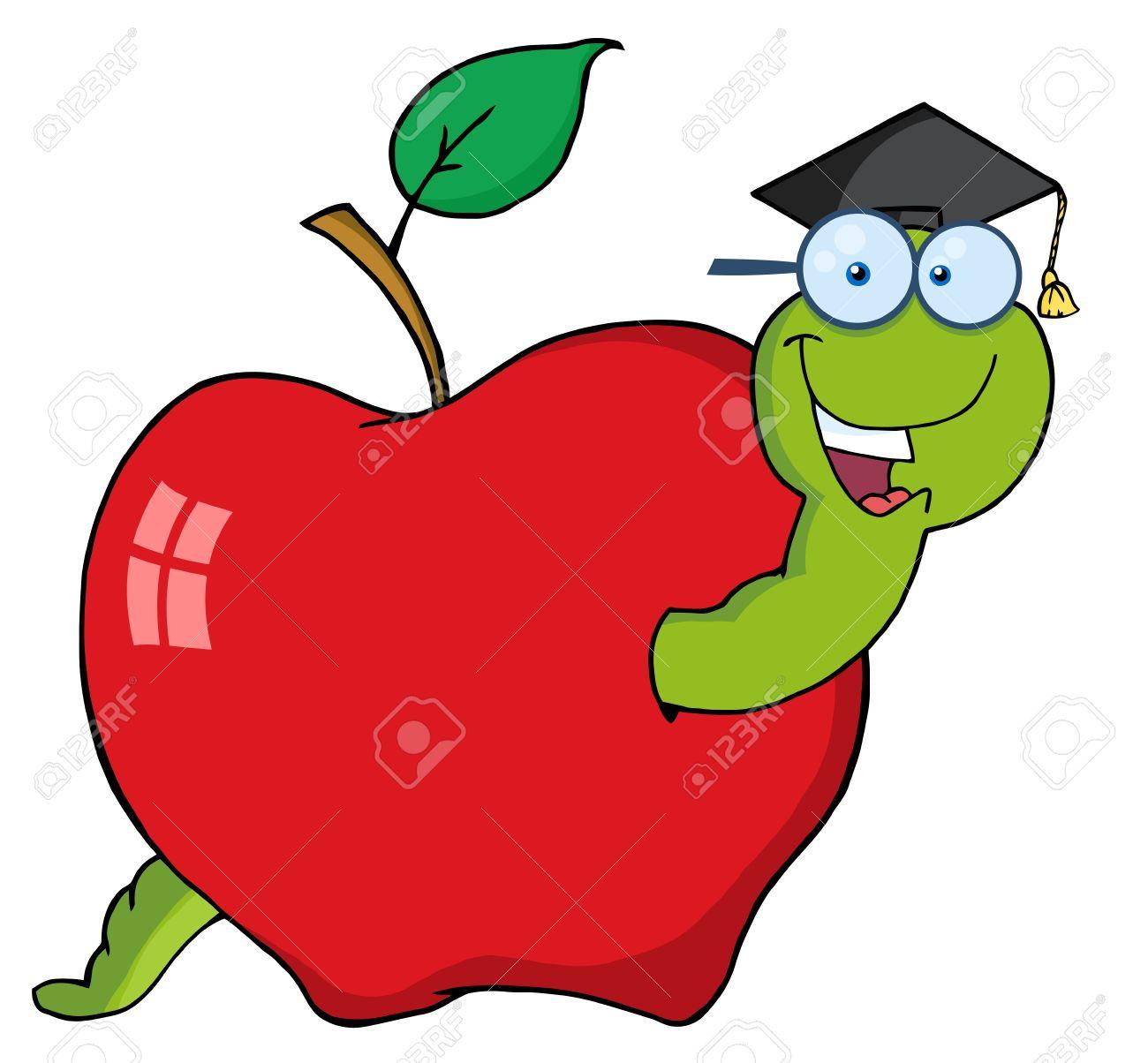 Happy Graduate Worm In Apple.