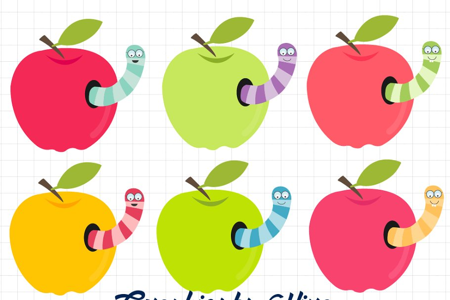 Apples with worms clipart.