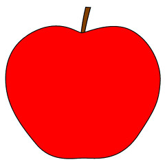 red apple with stem clipart.
