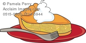 Clip Art Illustration of a Piece of Apple Pie With Ice Cream.