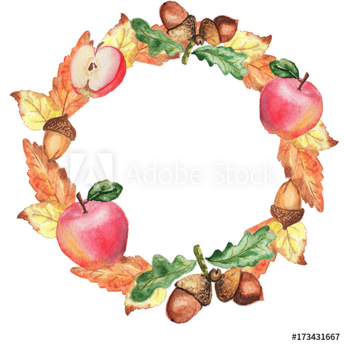 Watercolor autumn frame wreath Thanksgiving apples leaves.