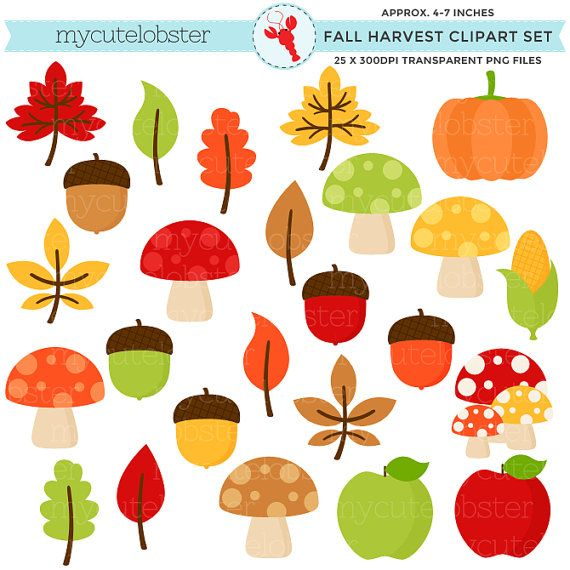 Fall Harvest Clipart Set.
