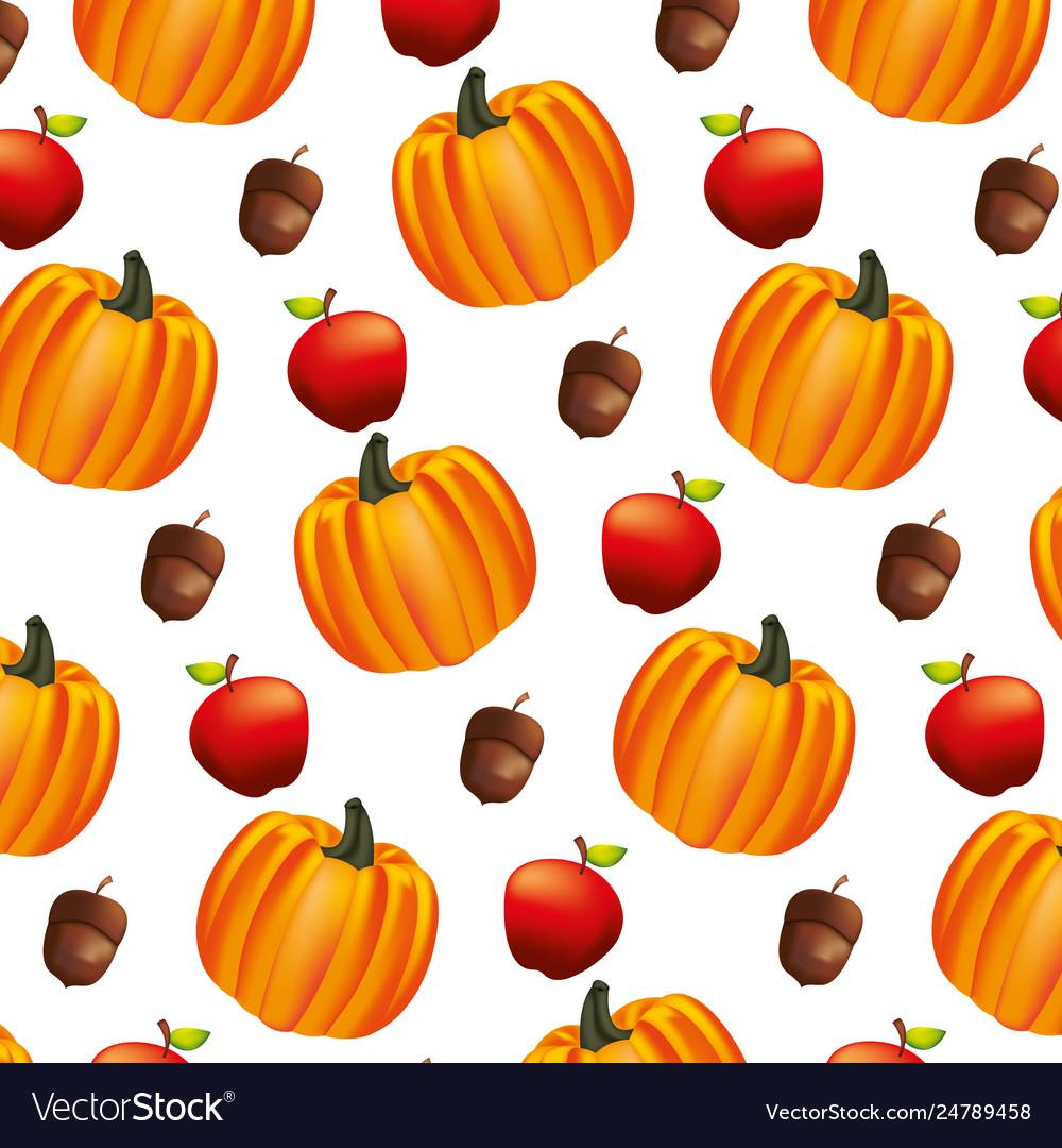 Pumpkin apple acorn autumn pattern.