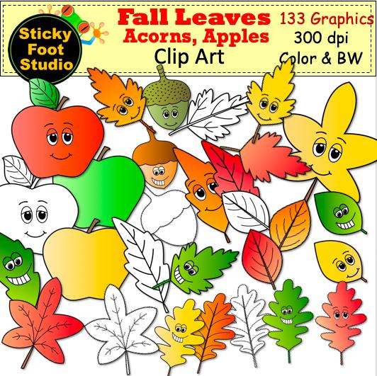 Fall Leaves Acorns Apples Clip Art.