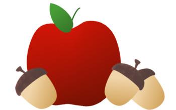 Apples and Acorns Clip Art.