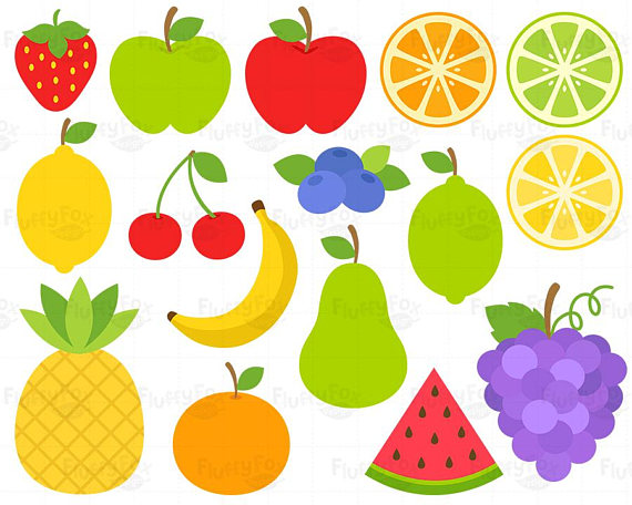 Fruits Clipart, Fruit Clip Art, Grape Banana Pear Pineapple.