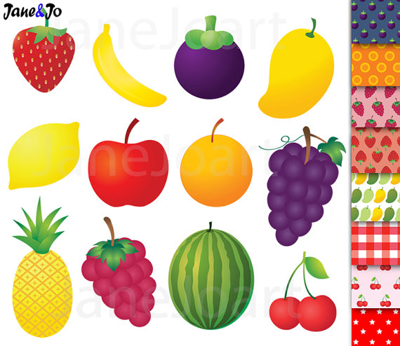 ClipArts Obst, Obst ClipArt, Ananas Banane orange Mango.