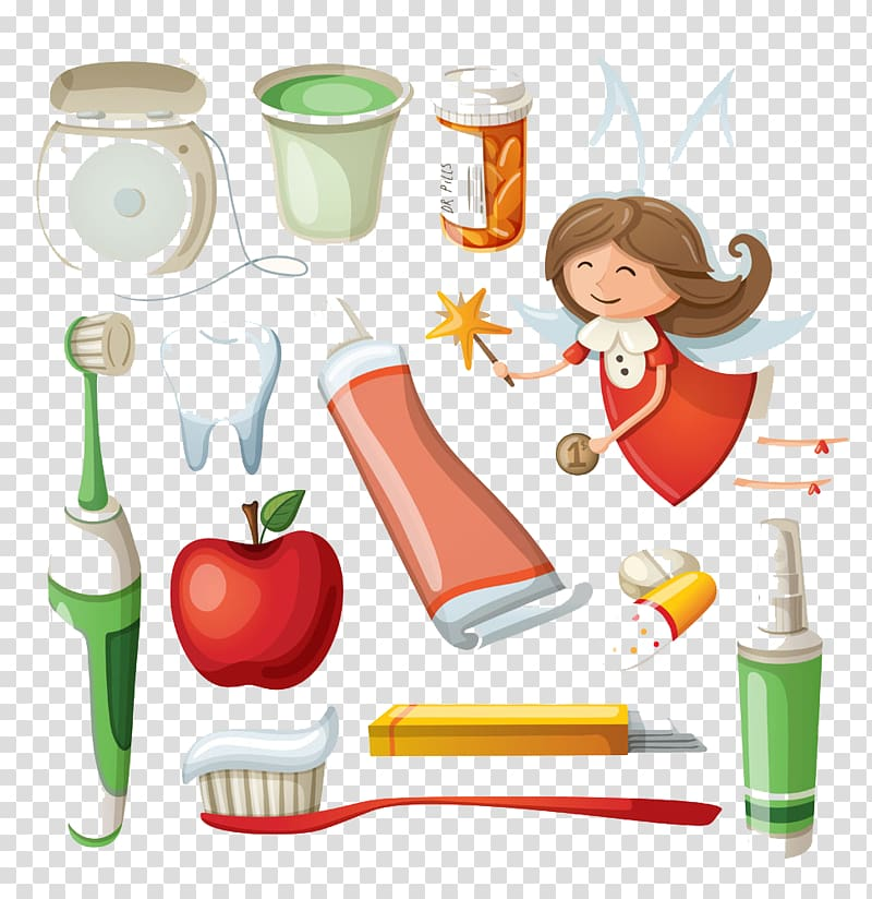 Electric toothbrush Toothpaste Cartoon, Toothbrush and apple.