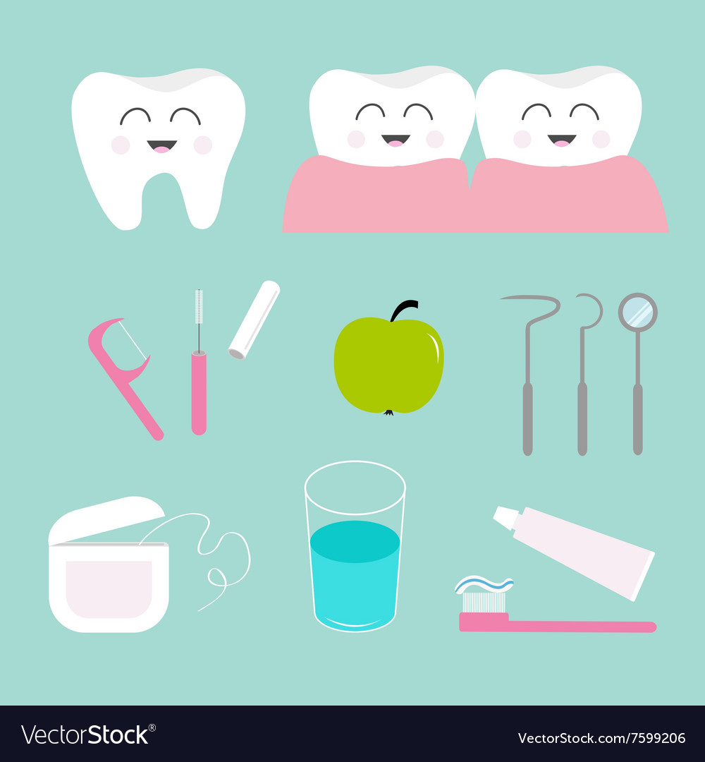 Tooth icon set Toothpaste toothbrush dental tools.