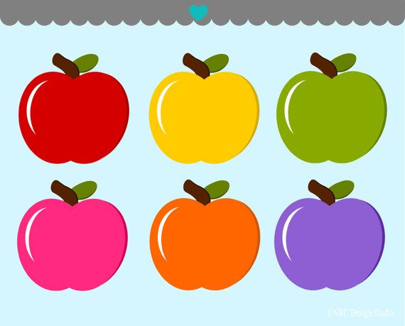 Colorful Apples Clip Art Graphics.