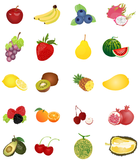 Fruit clipart including apple, banana, blueberry, grape.