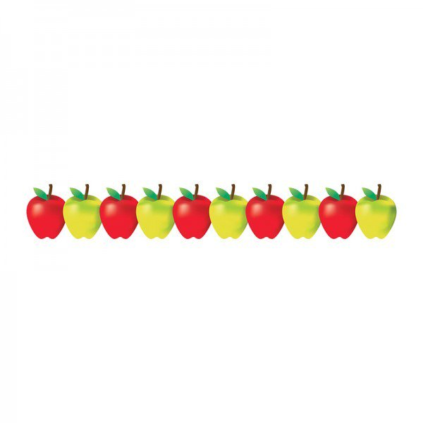 Apple border with banner clipart.