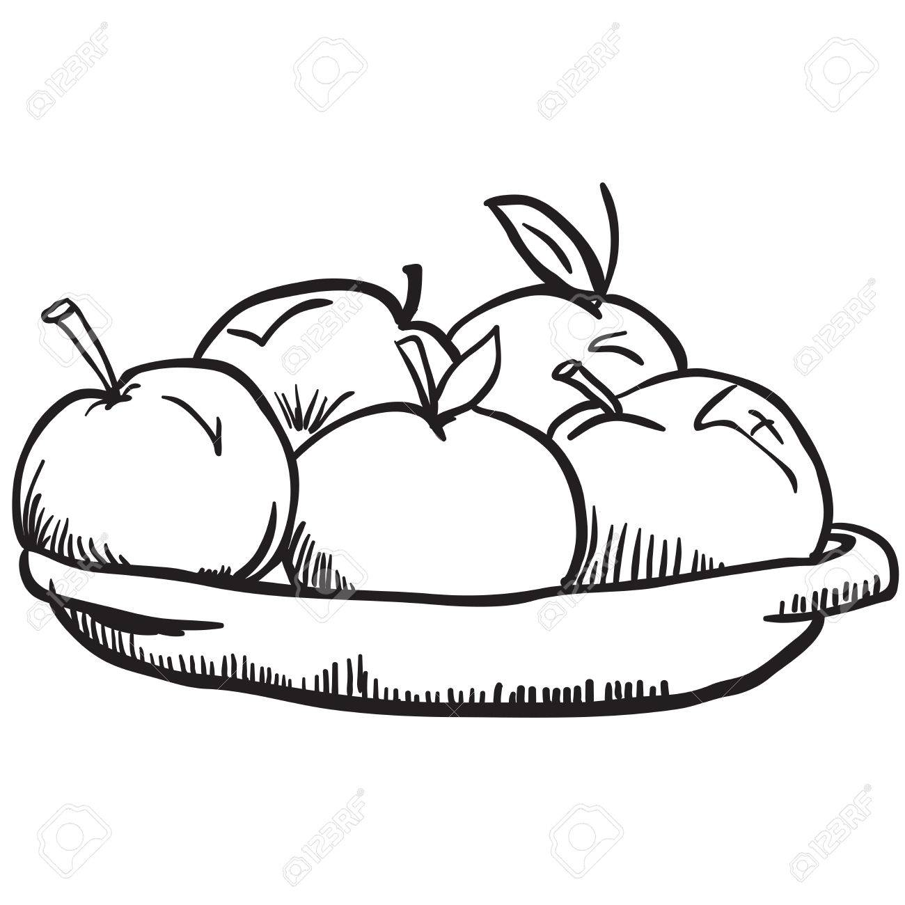 simple black and white apples cartoon.