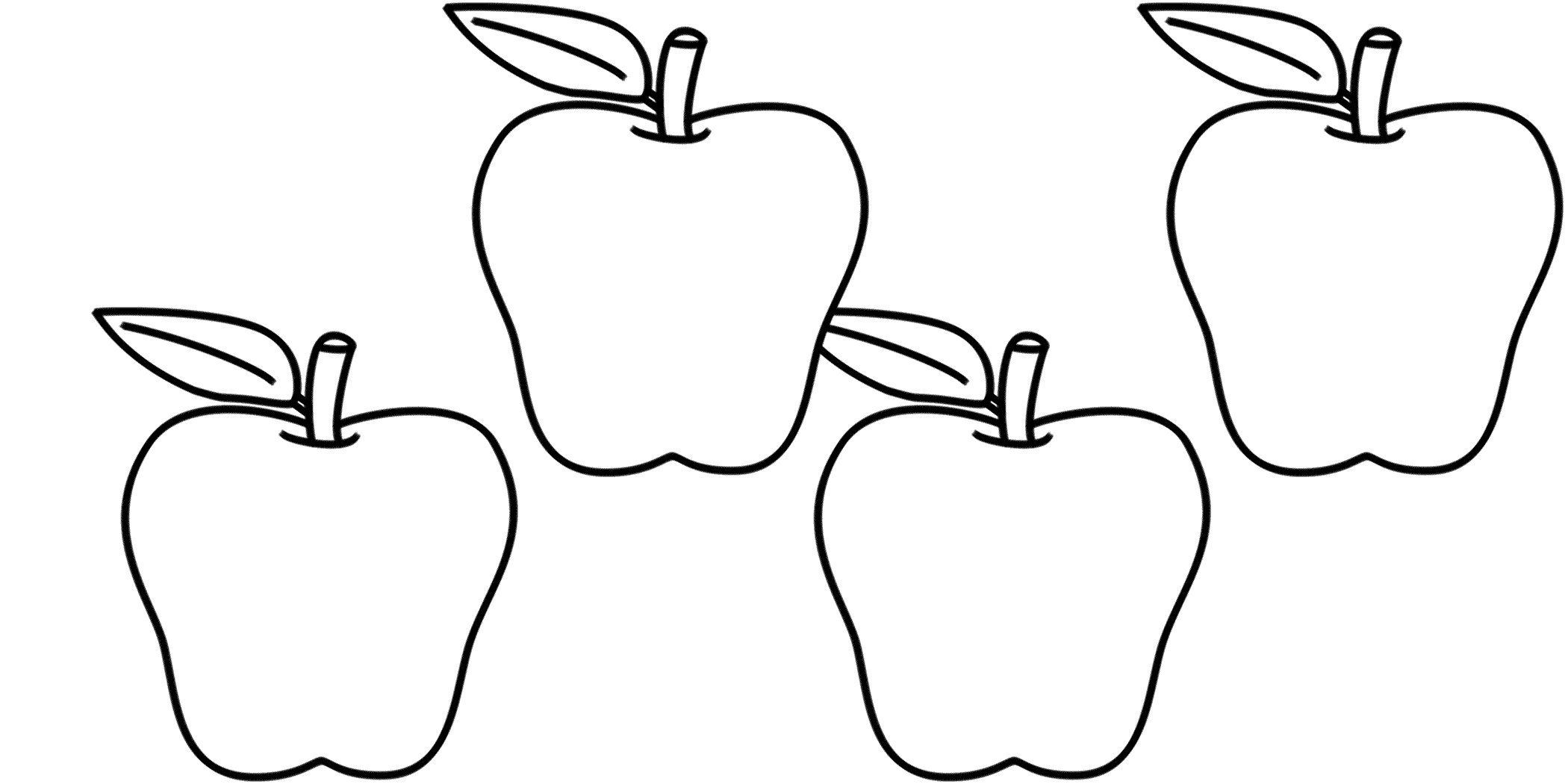 In Clipart Of Apple Black And White Nail Clip Artclipart Four Apples.