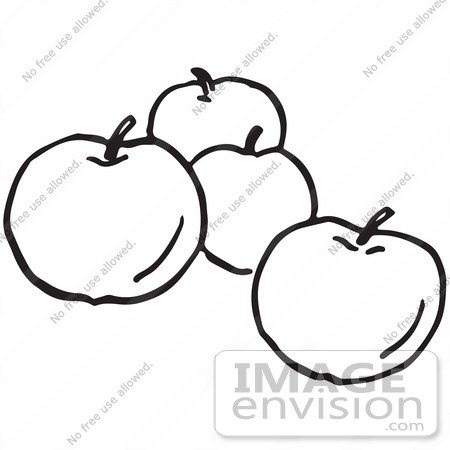 Clipart Of Apples In Black And White.