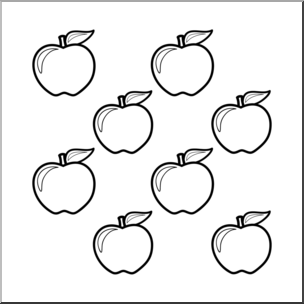 Clip Art: Apples: Color Group B&W I abcteach.com.