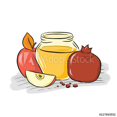 Hand drawn outline apple, honey and pomegranate illustration.