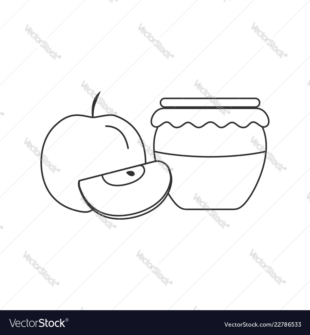 Whole and red apples and honey jar icon in black.
