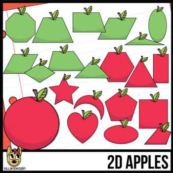 2D Shapes: Apple Clipart with Line Art.