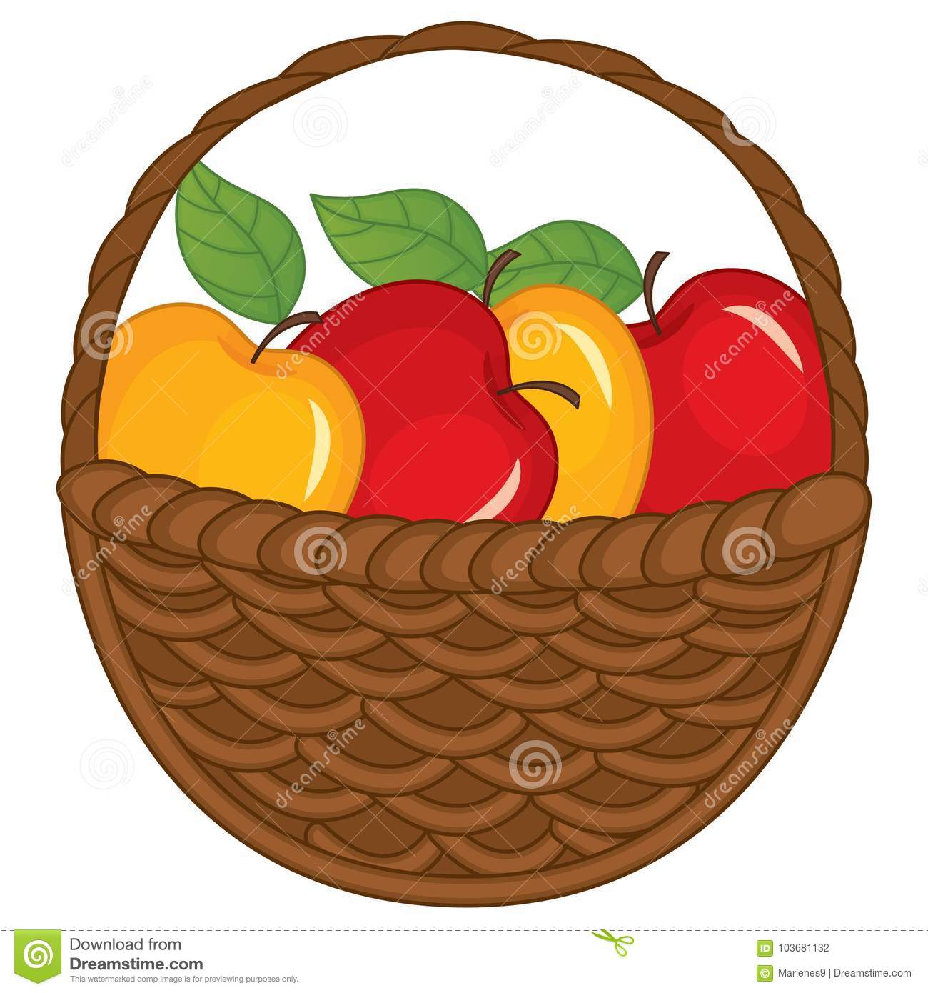 Vector Red And Yellow Apples In Wicker Basket Stock Vector.