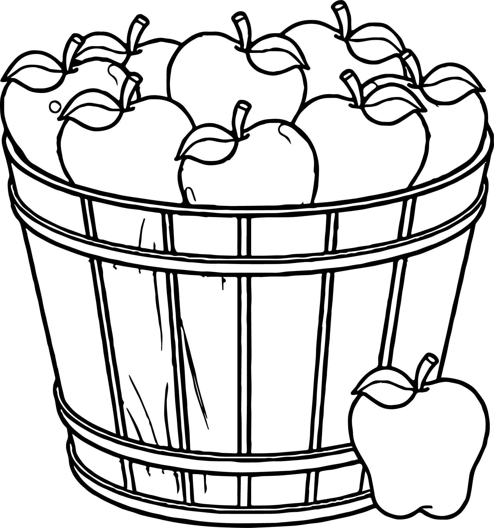 cool Apple Basket Coloring Page.