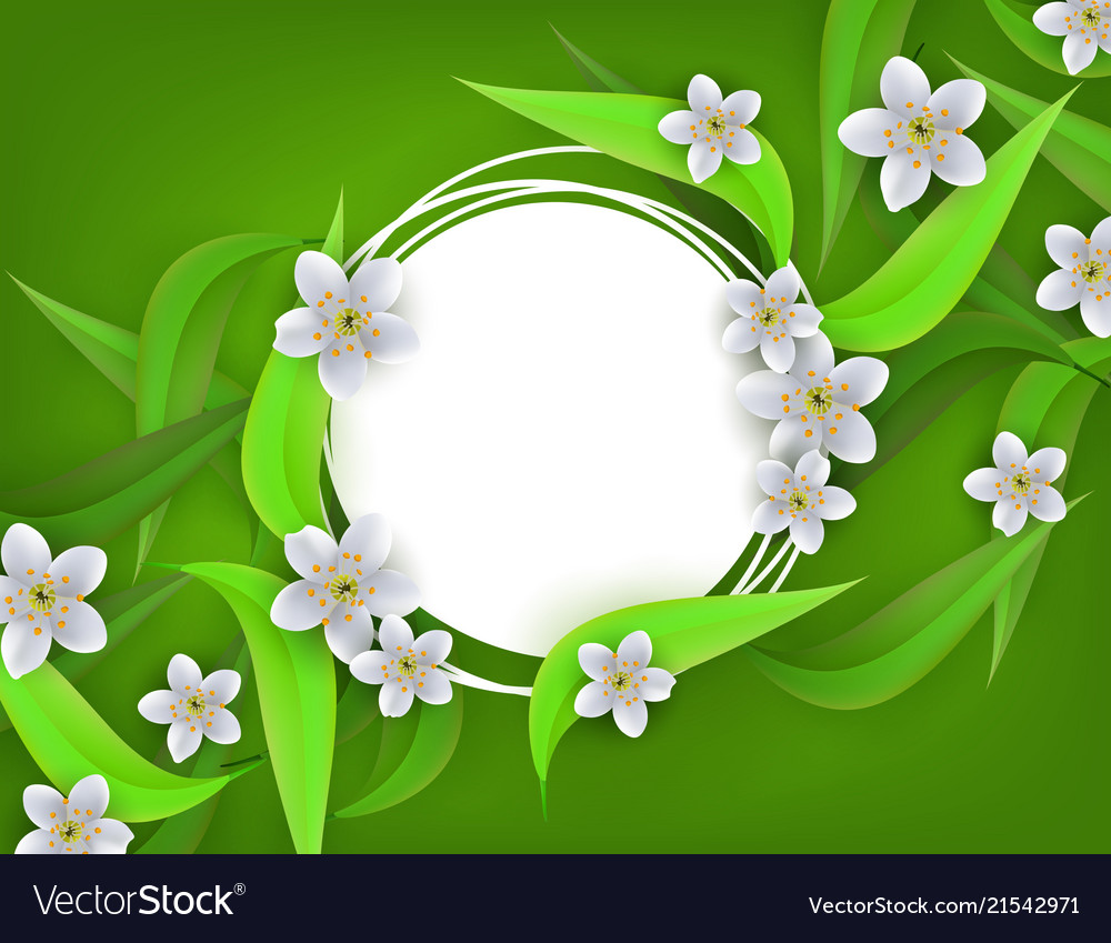 Floral banner with white apple or cherry blossoms.