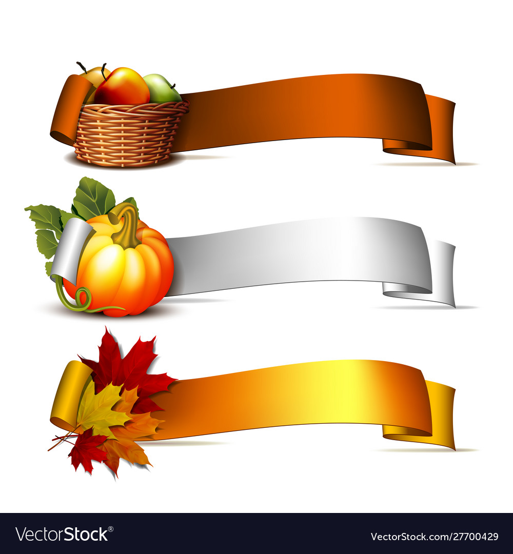 Ribbon with orange pumpkins autumnal leaves and.