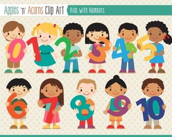 Kids With Numbers Clip Art.