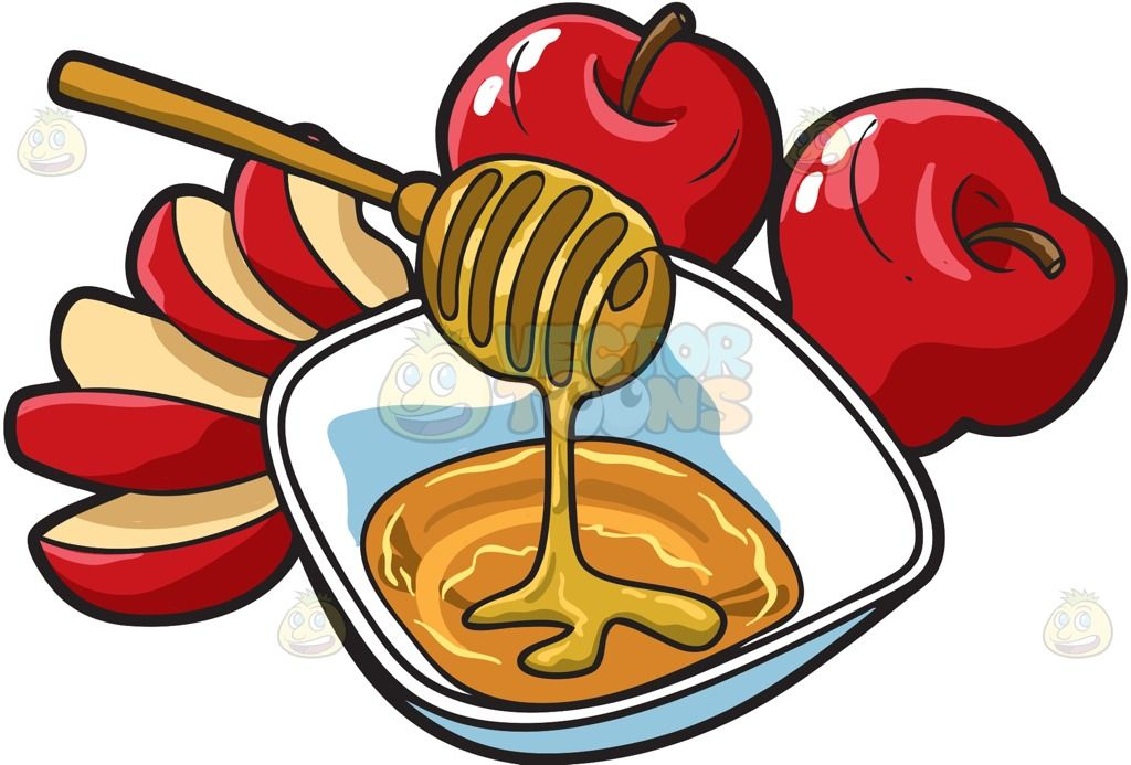 Apples and honey : Two whole and one sliced red apples.