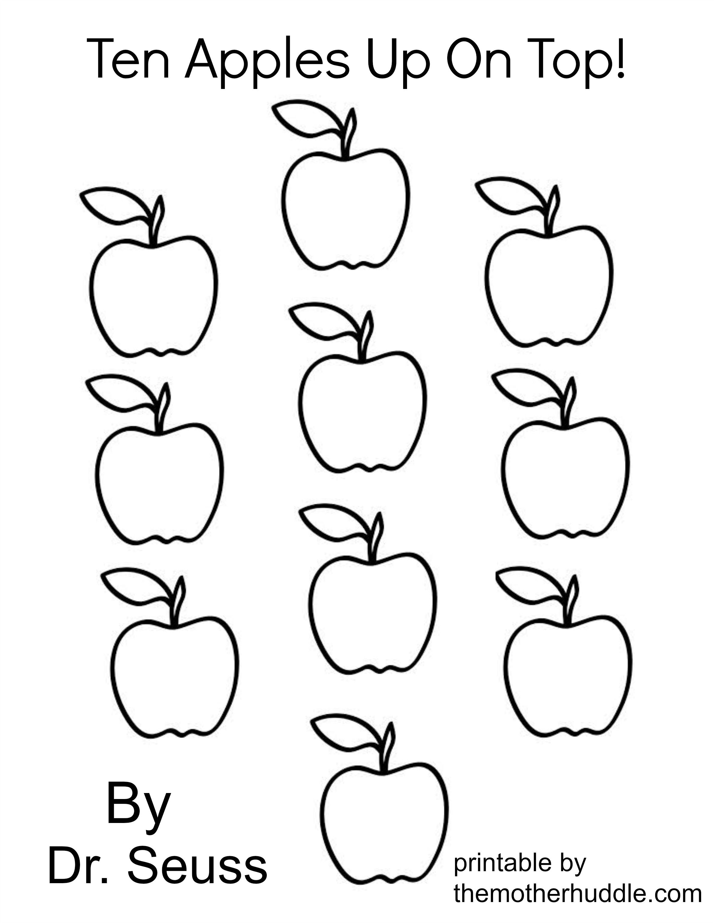 Ten Apples Up On Top Coloring Page.