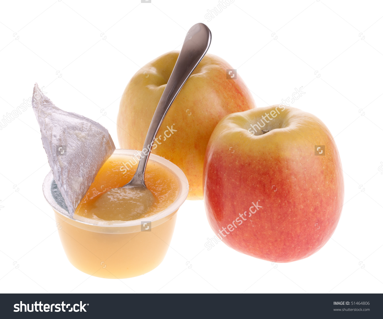 Apple Sauce With Spoon And Two Fresh Apples Stock Photo 51464806.