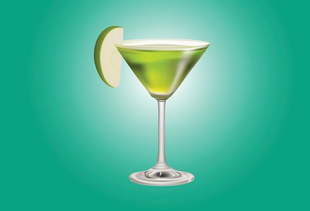 Apple Martini or Appletini mixed drink Clipart Image.