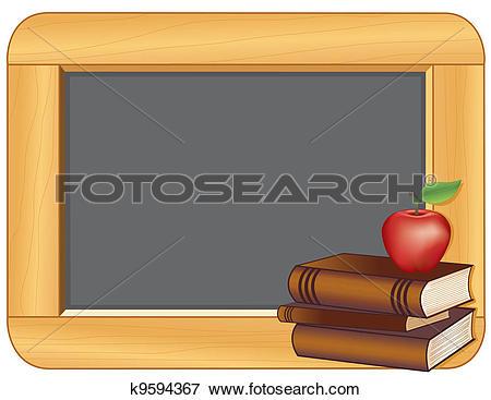 Clip Art of Books, Apple, Wood Frame Blackboard k9594367.