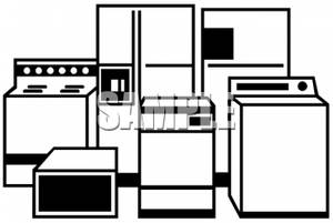 Clip Art Image: Black and White Household Appliances.