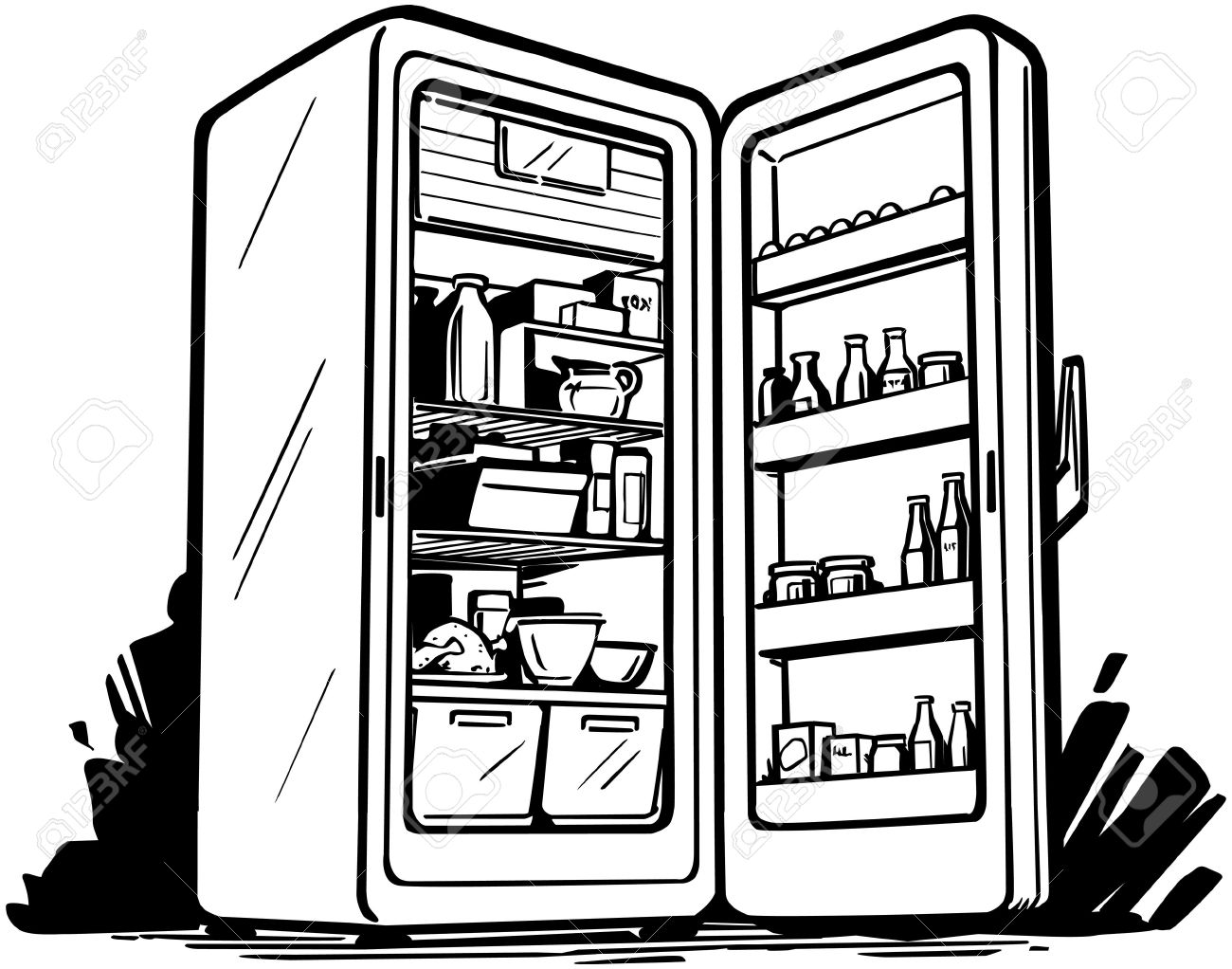 Open Refrigerator Clipart Black And White.