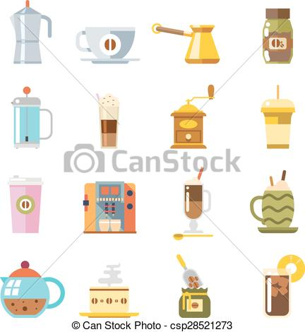 Vectors Illustration of Appliances to Make Coffee Accessories Cup.