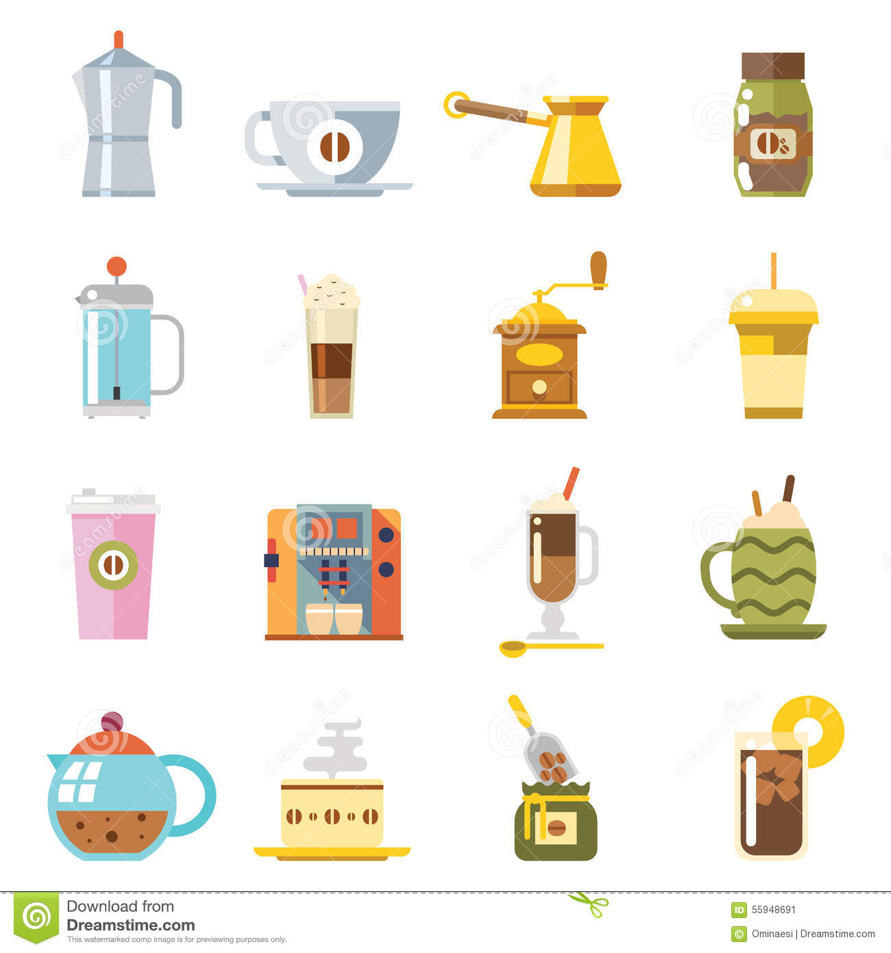 Appliances To Make Coffee Accessories Cup Glass Stock Vector.