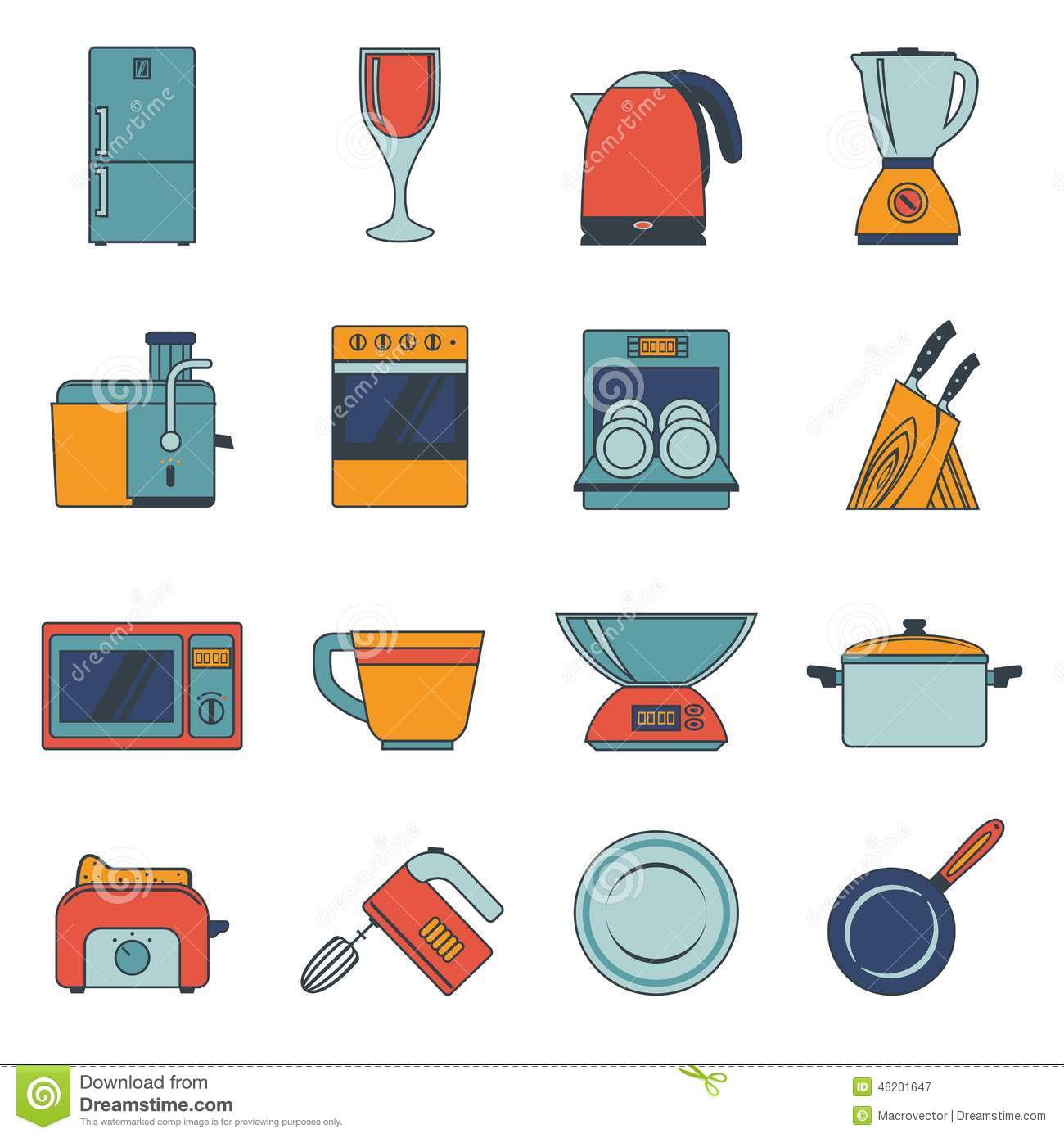 Kitchen Appliances Icons Flat Stock Vector.