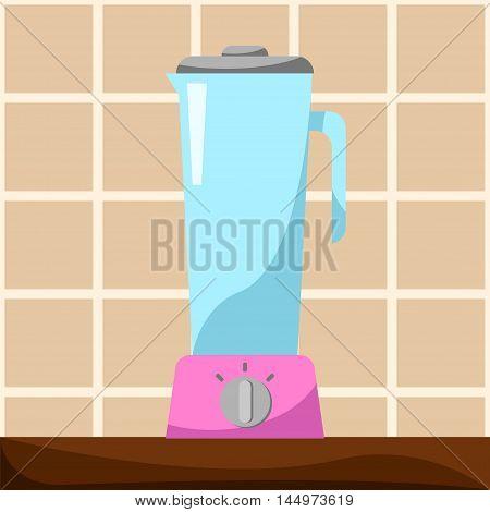 Blender on table vector illustration in cartoon style. Kitchen.