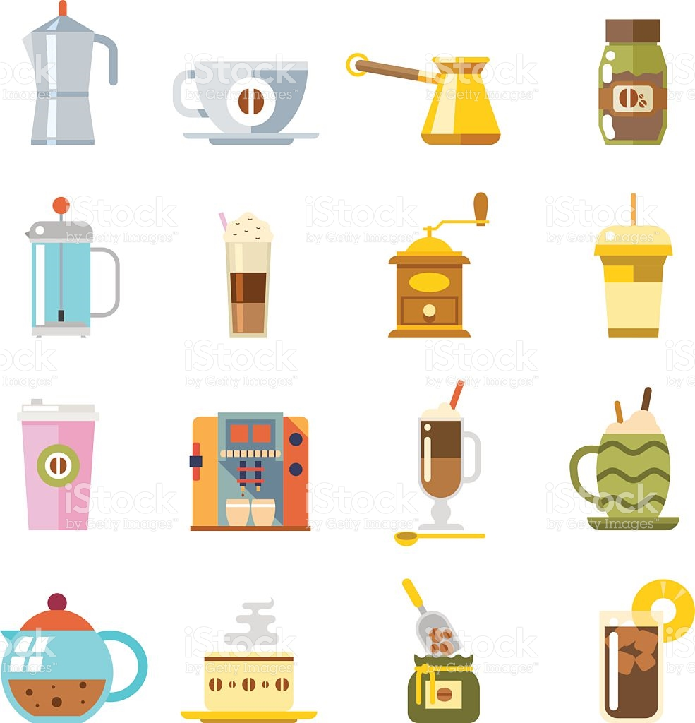 Appliances To Make Coffee Accessories Cup Glass Pot Spoon Icons.