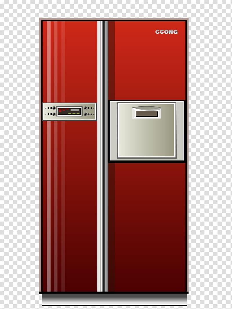 Refrigerator Home appliance, red refrigerator transparent.