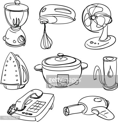 Electric appliances in black and white Clipart Image.