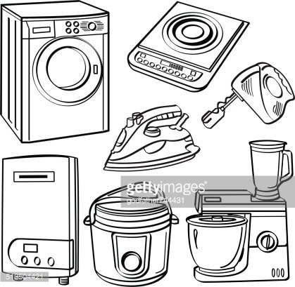 Home Electric Appliances Clipart Image.