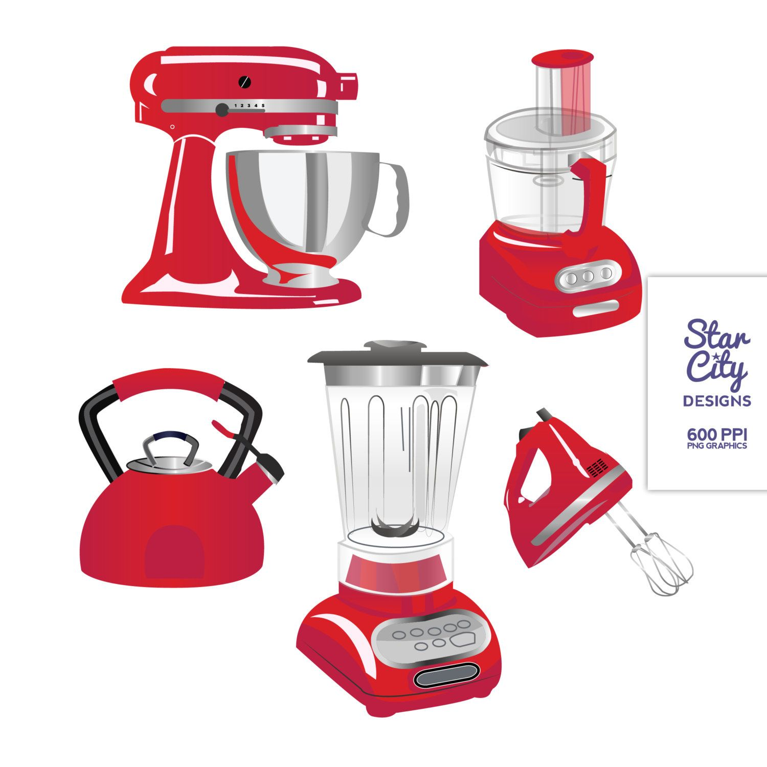 RED Kitchen Appliances Clip Art Clipart Vector by.