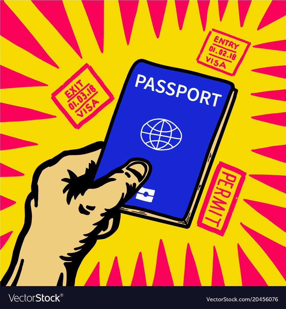 Hand holding passport and visa entry stamp around.