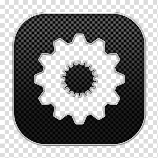Settings application icon, hardware accessory circle pattern.