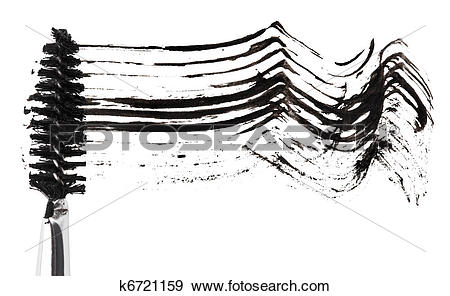 Stock Photograph of Stroke of black mascara with applicator brush.
